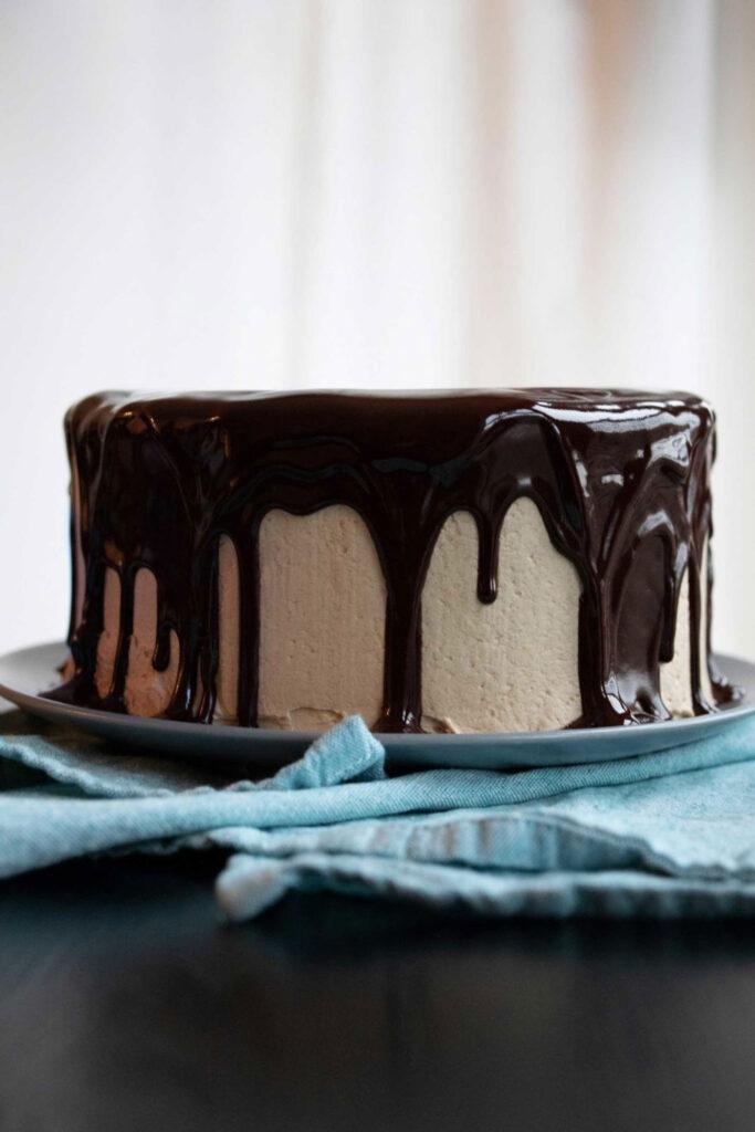 chocolate coffee cake covered in dark chocolate ganache