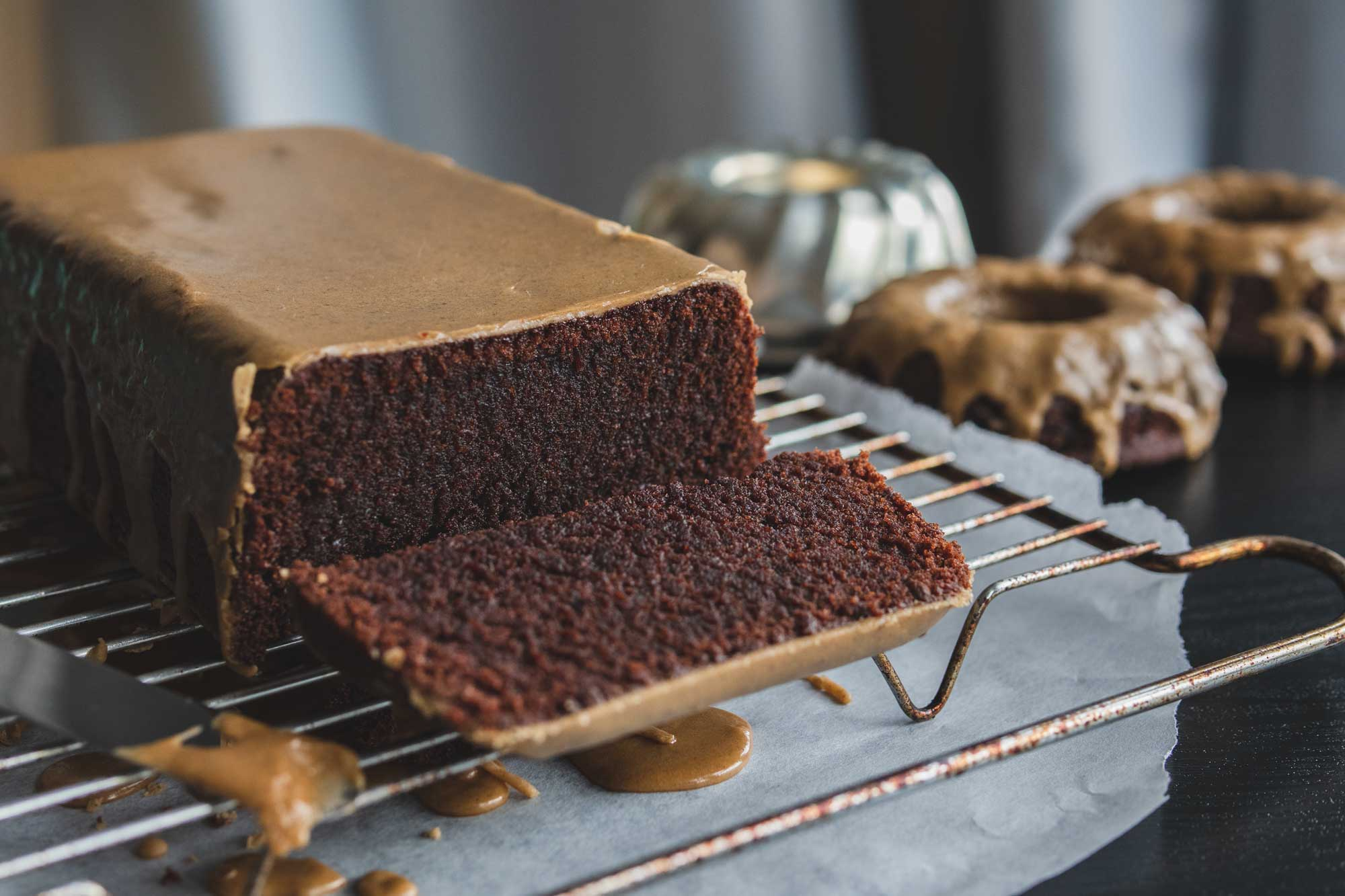 chocolate pound cake with coffee cardamom glaze