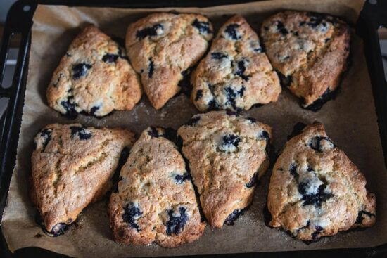 tray of blueberry lavender scones