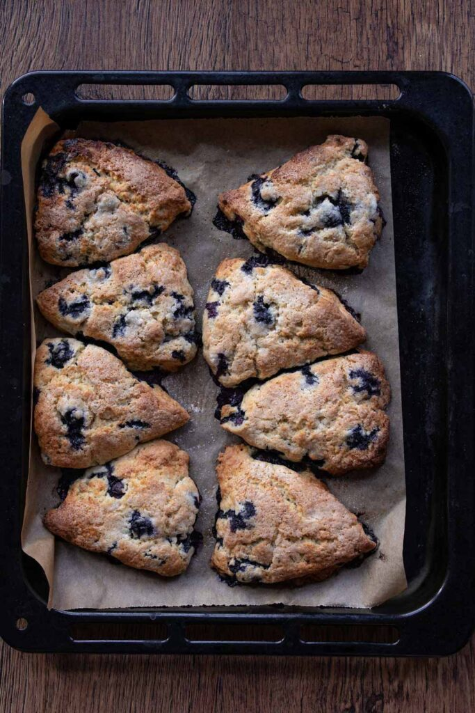 Blueberry lavender scones on a baking tray