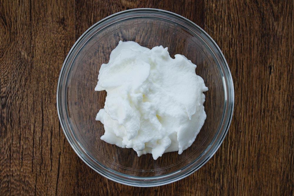 whip the egg whites to stiff peaks