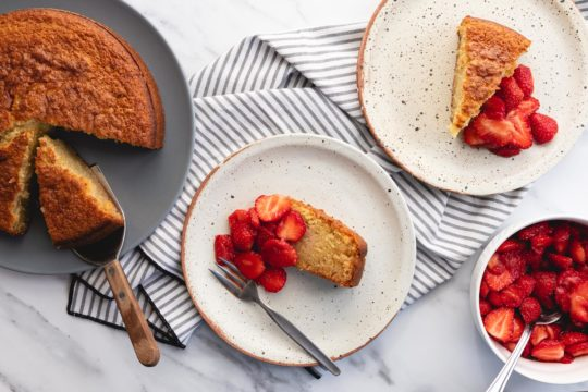 olive oil cake with balsamic macerated strawberries