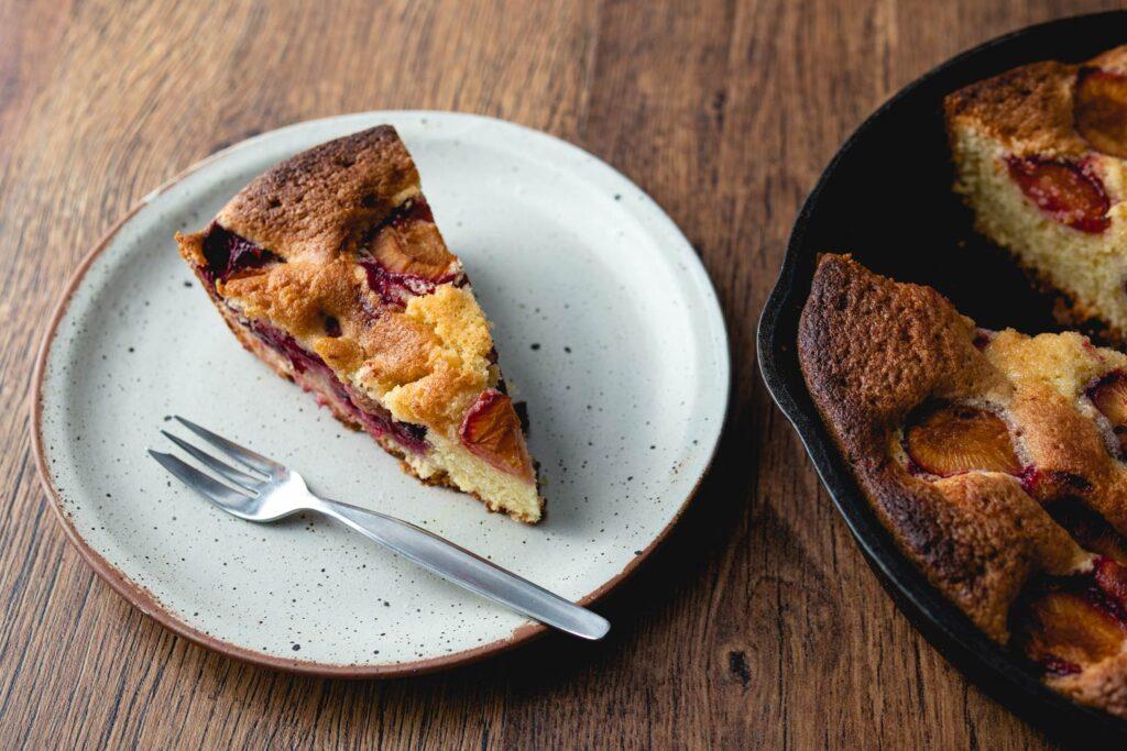 a slice of plum cake