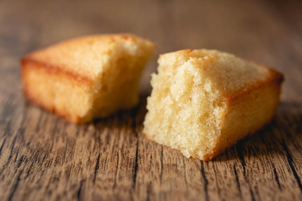 close up of financier cake