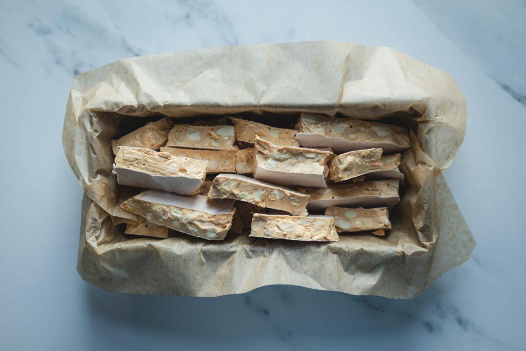 tray of turron de alicante, spanish almond nougat