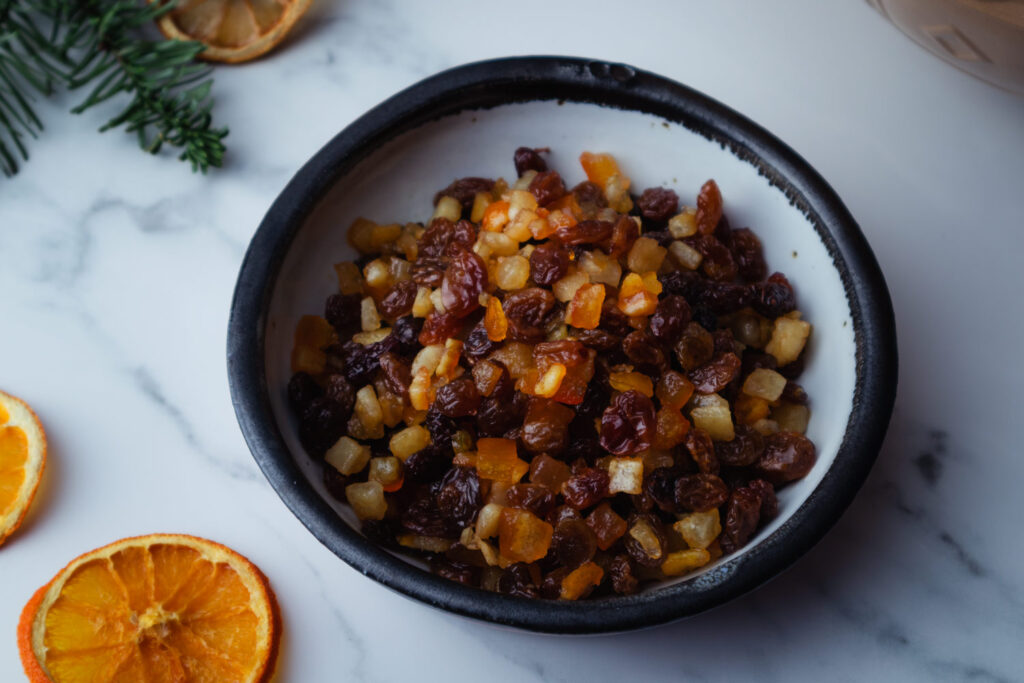 bowl of rum-soaked raisins and candied citrus