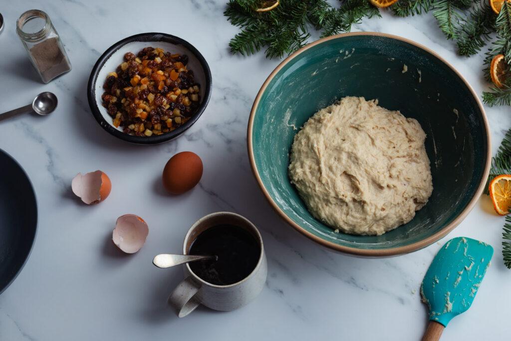 mixing the dough for julekake