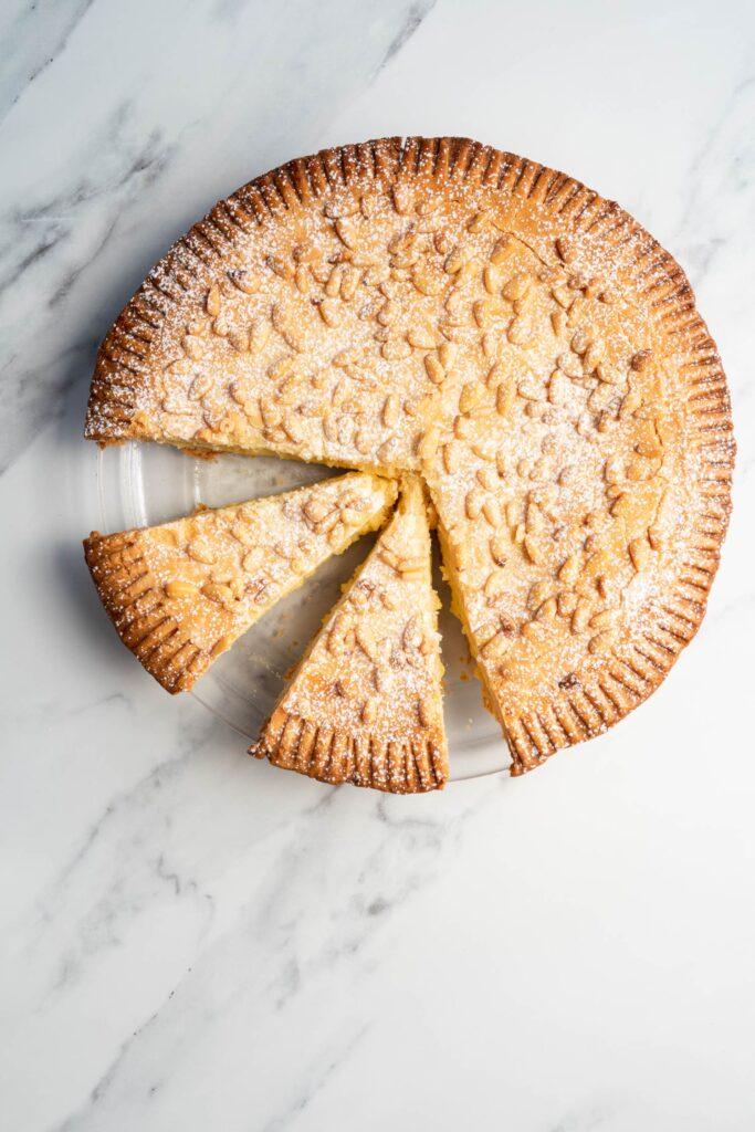 torta della nonna slices in a pie dish