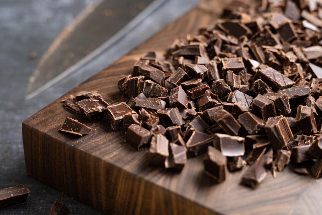 chopped chocolate on a cutting board