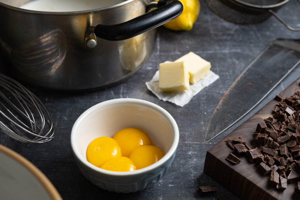 ingredients for chocolate pastry cream